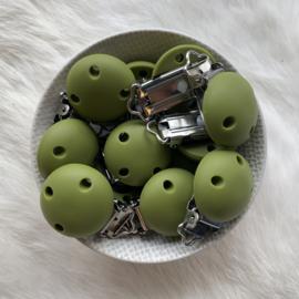 Speenclip siliconen KLEIN - leger groen