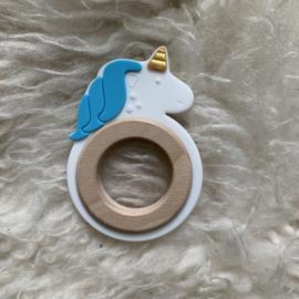 Eenhoorn met houten ring plat - blauw
