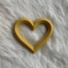 Hart met 2 gaten - mosterd geel