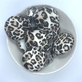 Speenclip siliconen - luipaard print oud bruin