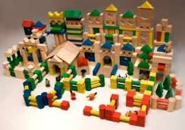 colored wooden blocks set (500 stk)