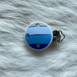 Pacifier clip silicone - rainbow blue