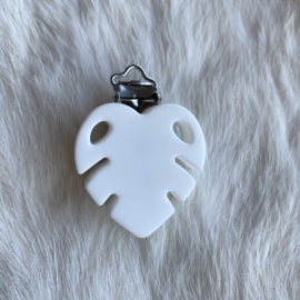Speenclip siliconen monstera blad - wit
