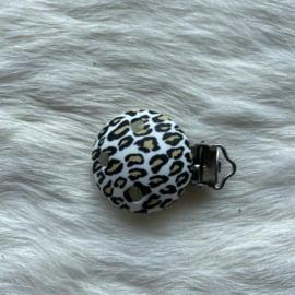 Pacifier clip silicone - leopard white