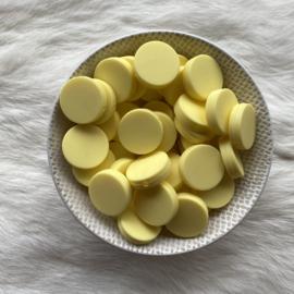 Platte ronde kraal 20mm - boter geel