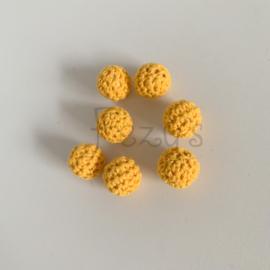 Gehaakte kraal 16mm - zon geel