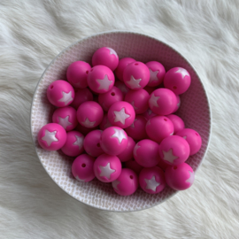 15mm - fuchsia with pearl white star