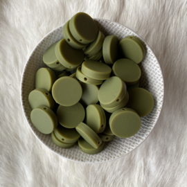 Platte ronde kraal 20mm - leger groen
