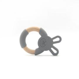 Bijtring konijn met houten ring - donker grijs