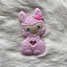 Happy llama bijtfiguur - zacht roze