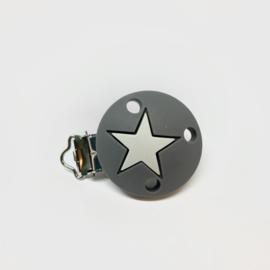 Speenclip siliconen - ster donker grijs en licht grijs