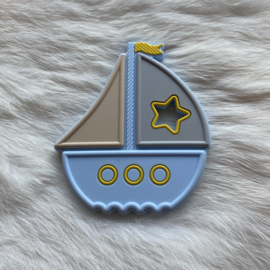 Boat teether - soft blue