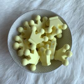Kroontje kraal - creme geel