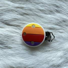 Pacifier clip silicone - rainbow purple/red