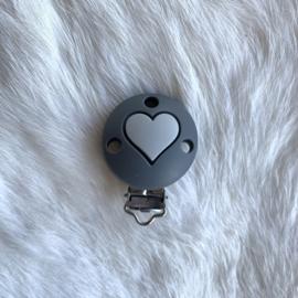 Speenclip siliconen - donkerder grijs met licht grijs hart