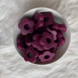 Rond bloemetje - wijnrood