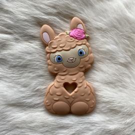 Happy llama bijtfiguur - perzik