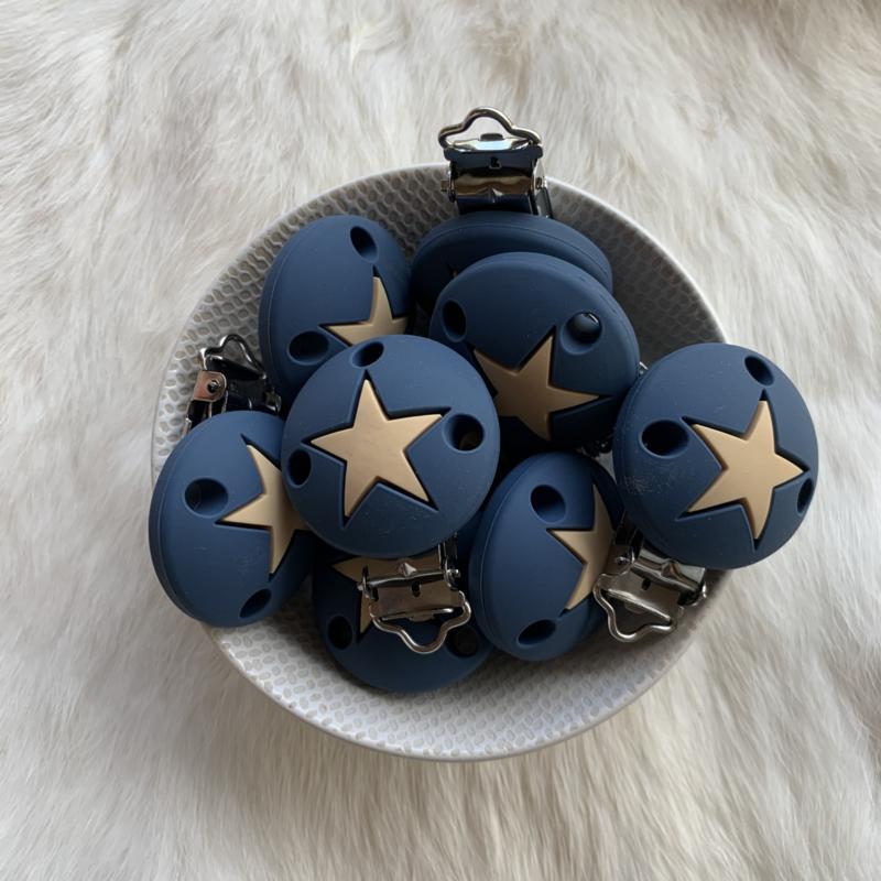 Speenclip siliconen - ster nacht blauw met oatmeal