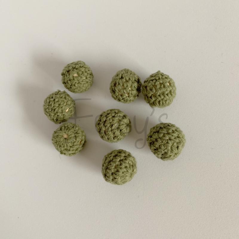 Gehaakte kraal 16mm - leger groen