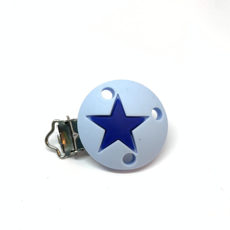 Speenclip siliconen - ster zacht blauw met licht navy
