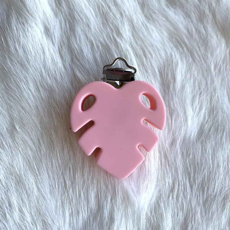 Speenclip siliconen monstera blad - licht roze