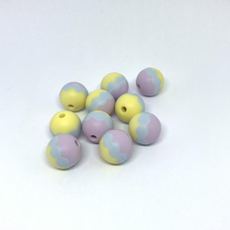 15mm - 3 kleurig lila/grijs/licht geel