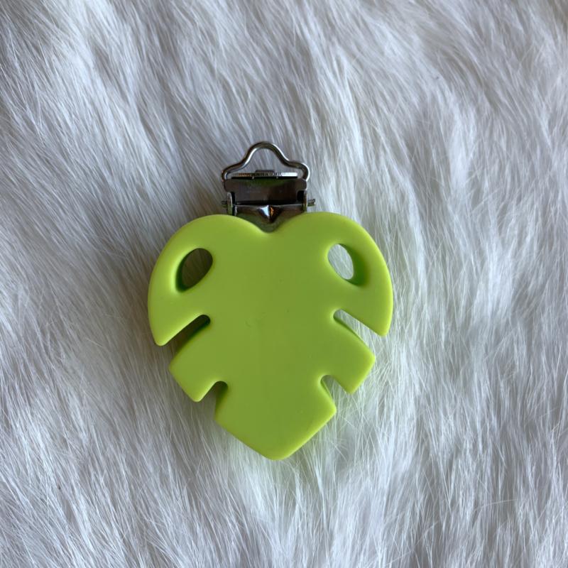 Speenclip siliconen monstera blad - licht groen