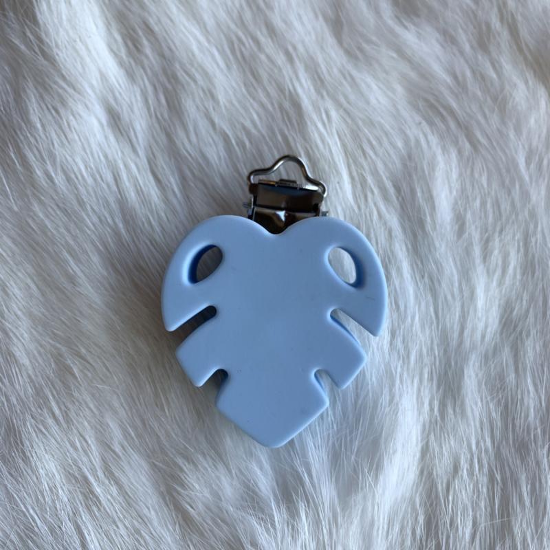 Speenclip siliconen monstera blad - zacht blauw