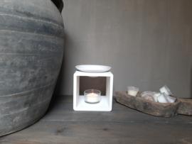 Aroma geurbrander hout/keramiek wit
