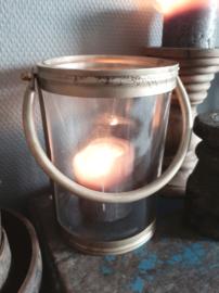 Windlicht kaarsenhouder hang glas metaal landelijk industrieel goud