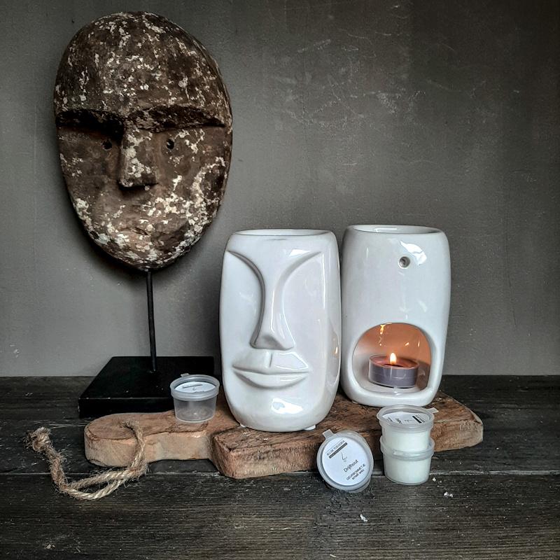 Aroma geurbrander keramiek gezicht wit