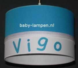 Jongenslamp met naam  aquablauw Vigo