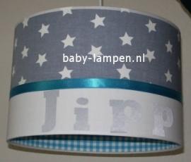 Jongenslamp met naam Jipp grijs wit blauw sterren