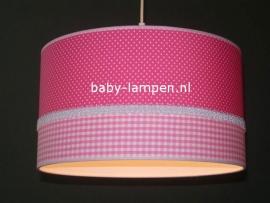 meisjeslamp fuchsia stipjes roze ruitjes