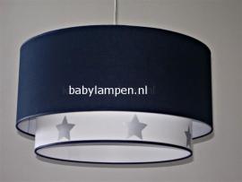 jongenslamp donkerblauw zilver sterren wit