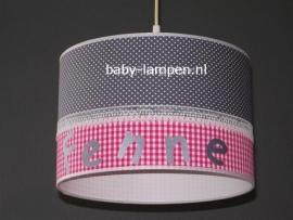 meisjeslamp met naam grijs stipje fuchsia ruitjes