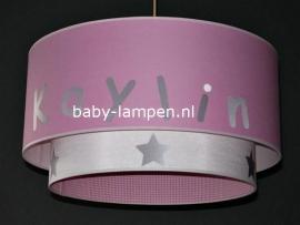 meisjeslamp met naam roze wit zilver sterren