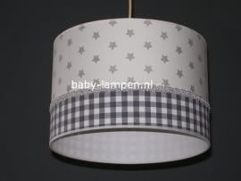 meisjeslamp wit grijze sterren grijs ruitje