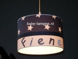 meisjeslamp met naam antraciet witte sterren