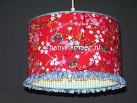 meisjeslamp rood vlinders blauw ruitje