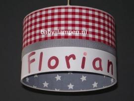 Jongenslamp met naam Florian rood en grijs