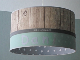 Jongenslamp met naam Dani steigerhout grijs mint groen