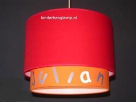jongenslamp met naam oranje en rood zilver