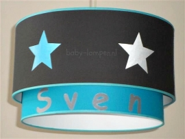 jongenslamp met naam en sterren taupe turquoise
