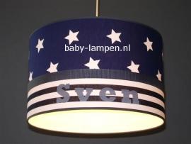 Jongenslamp met naam Sven donkerblauw brede strepen
