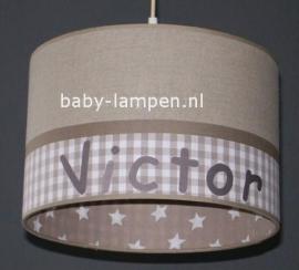 Jongenslamp met naam beige Victor