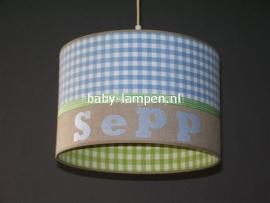 Jongenslamp met naam limegroen blauw beige Sepp