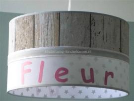 meisjeslamp steigerhout  wit grijze sterren
