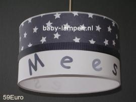 Jongenslamp met naam Mees antraciet witte sterren