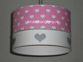 meisjeslamp roze witte hartjes zilveren hartjes